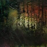 'Pine Shadows' 30cm x 30cm Oil, Mixed Media on Canvas