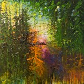 'Through the Pines', 50cm x 50cm, Oil, Mixed Media on Canvas